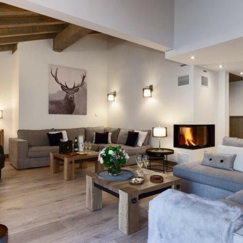 Appartement avec canapés, tables basses, cadre et cheminée