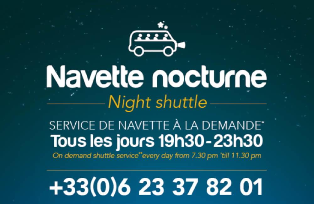 affiche informative de la navette nocturne des Gets