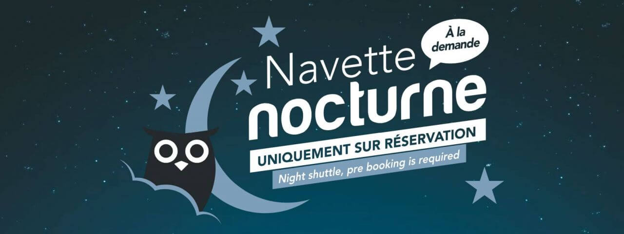informative poster of the Les Gets night shuttle