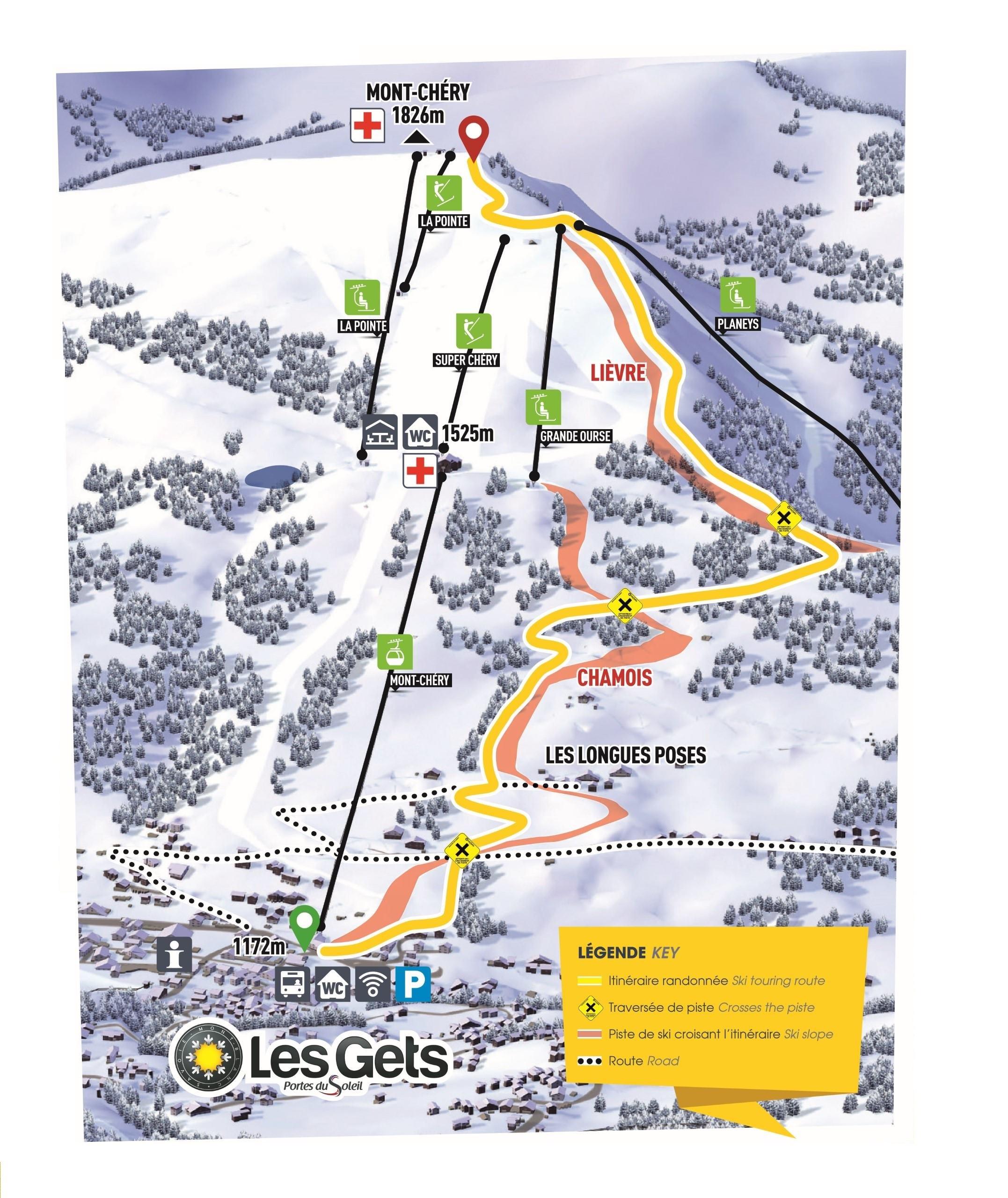 Tracé ski de randonée Montée du Chéry