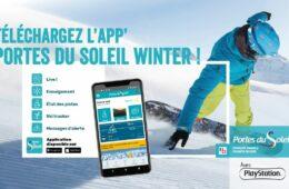 Visuel application Portes du Soleil avec snowboarder