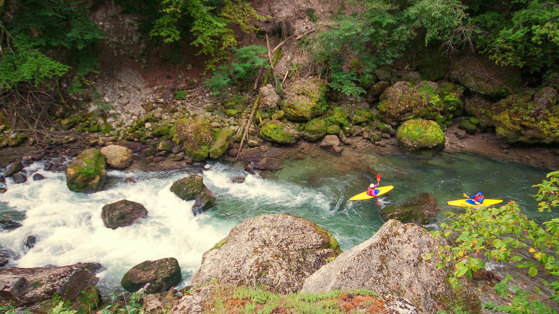 Deux kayaks jaunes dans une rivière