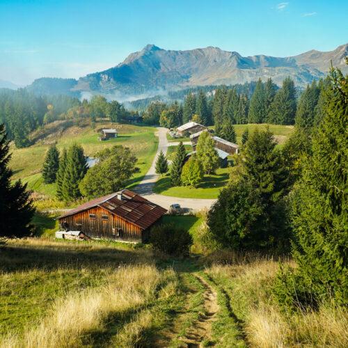 Paysage montagne en automne avec chalets
