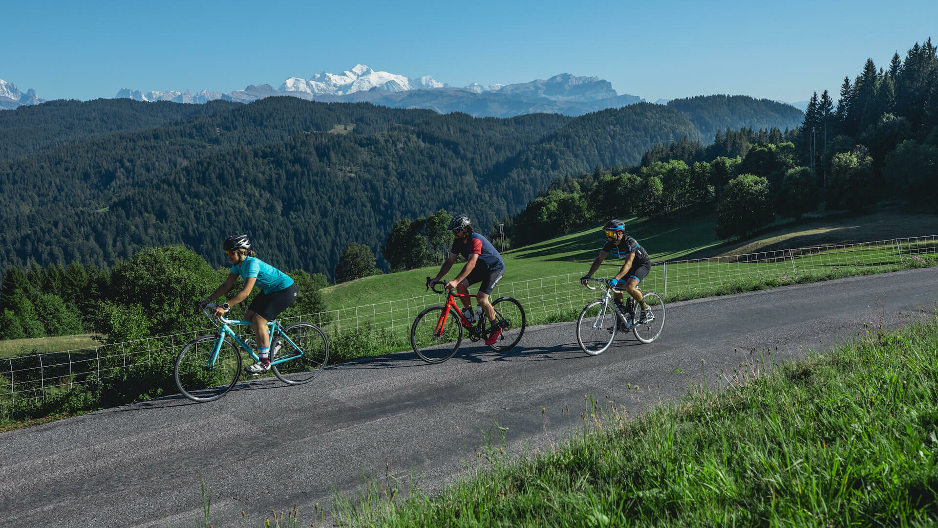 Cyclists on a mountain road in summer
