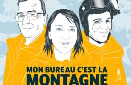 Affiche podcast avec trois personnages habillés en jaune avec montagne en fond