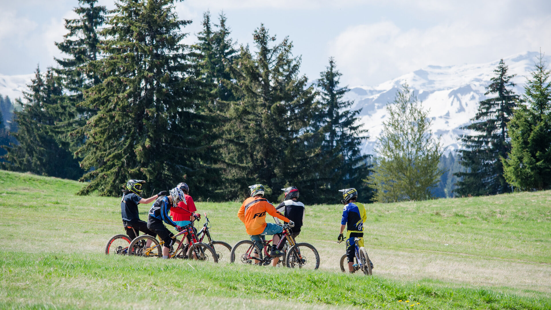 Group of friends on mountain bikes in summer