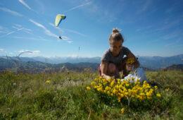 Femme cueillant un bouquet de fleurs jaunes en été avec parapentiste et montagne en fond